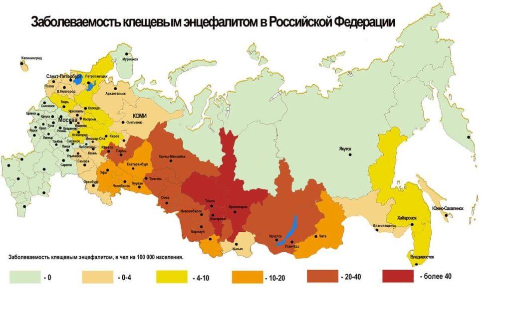 Распространение болезней от клещей в РФ